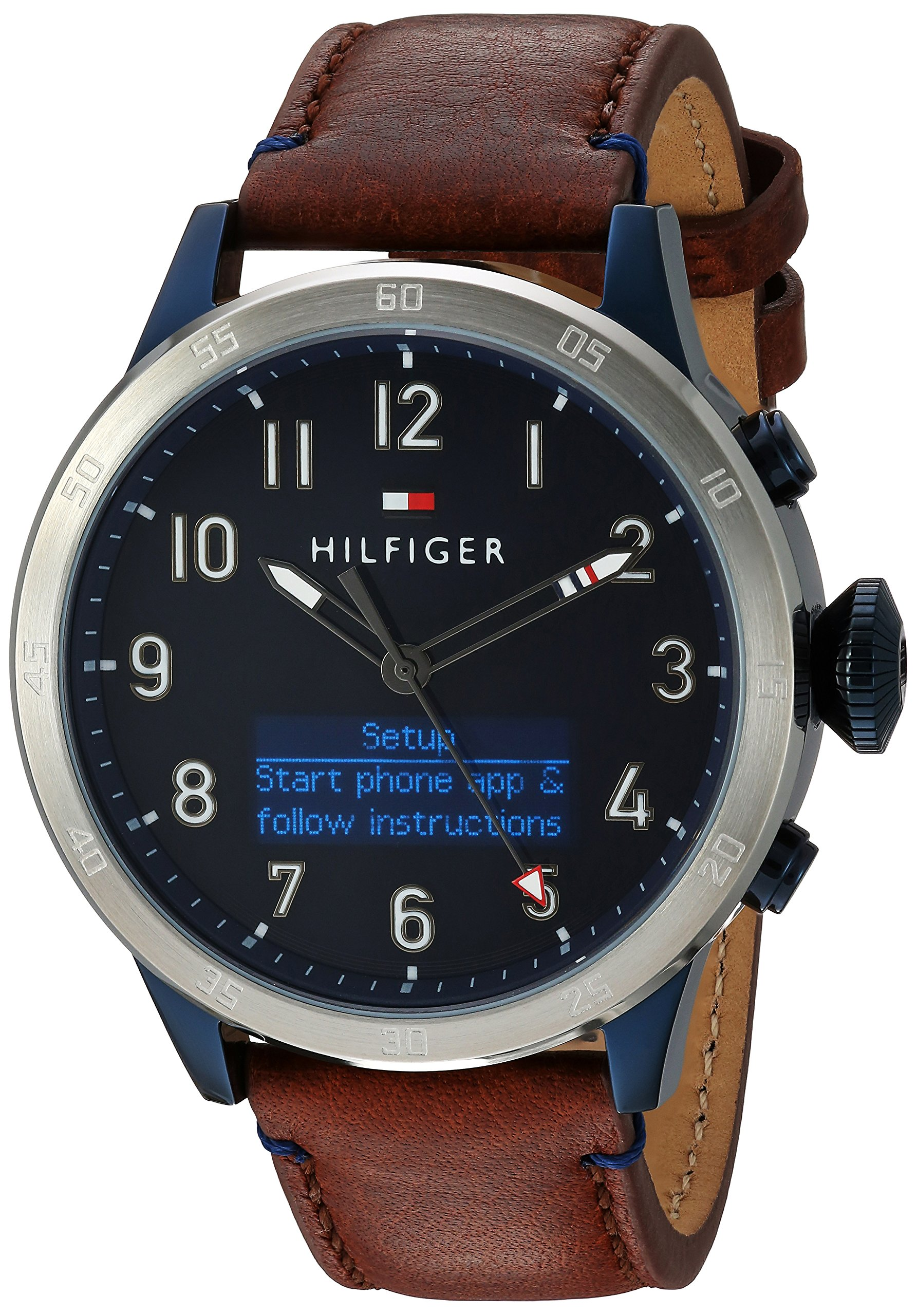 Tommy Hilfiger Men's 'TH 24/7' Quartz Stainless Steel and Leather Smart Watch, Color:Brown (Model: 1791300)
