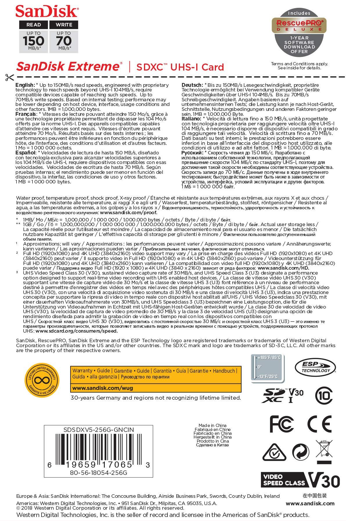 SanDisk 256GB Extreme SDXC UHS-I Card - C10, U3, V30, 4K UHD, SD Card - SDSDXV5-256G-GNCIN by SanDisk (Image #5)