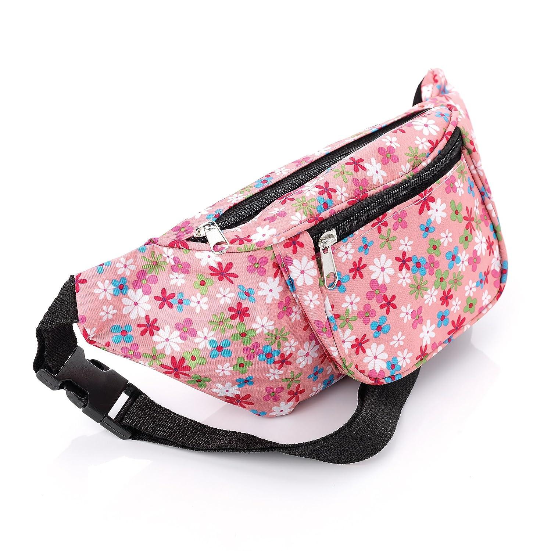 Pink Tone Ditsy Floral Print Waist Bag Fanny Pack Money Bum Bag Hip Belt