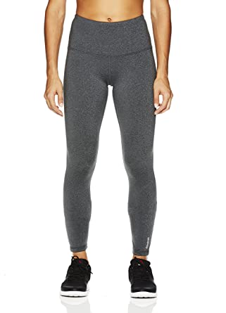 Reebok Women's High Rise Leggings Performance Compression Pants- High Rise Charcoal  Heather/Grey,