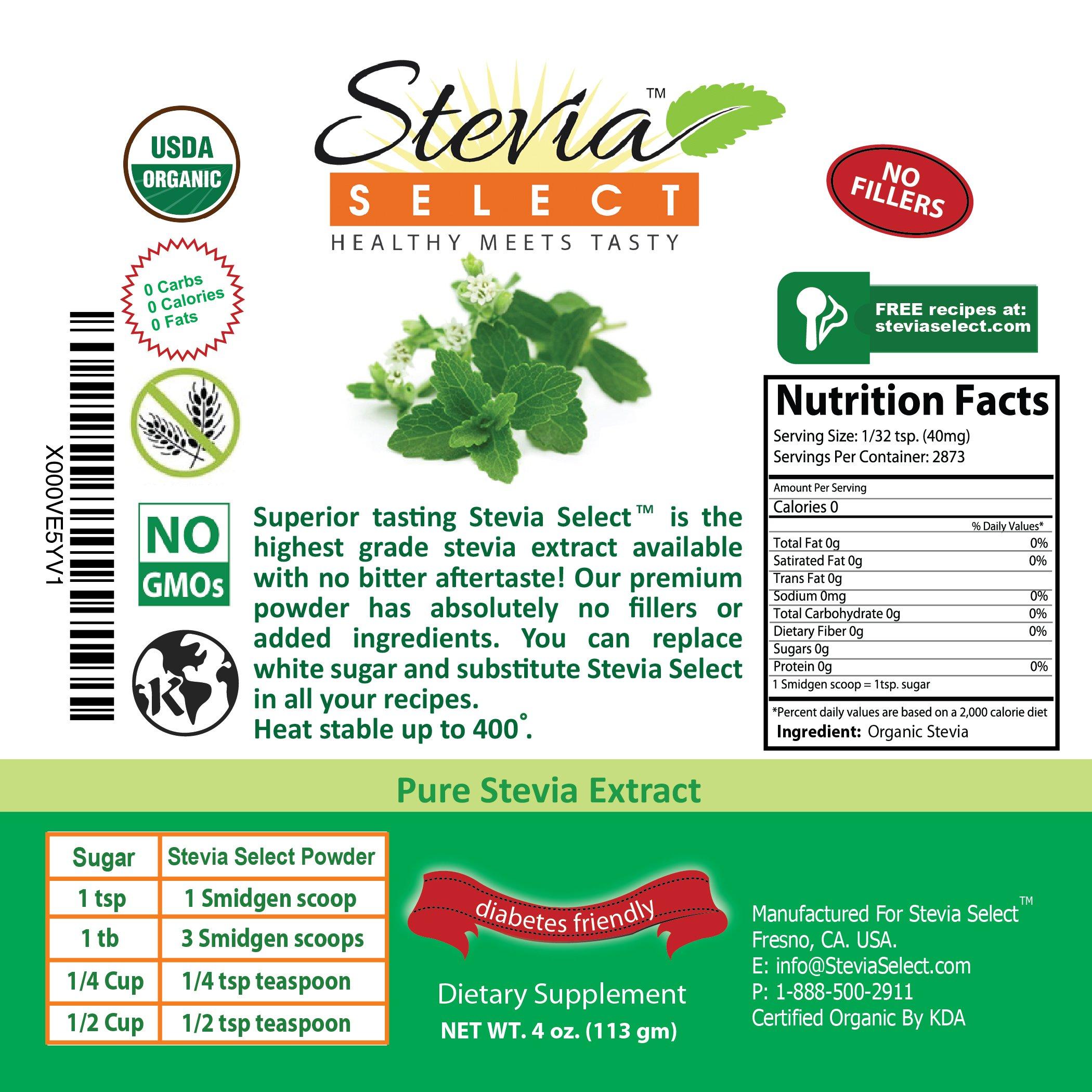 Organic Stevia powder-Pure Stevia Extract-Stevia Select 4 oz. Bulk Stevia-Perfect Sugar Substitute Extracted From Sweet Leaf of Stevia-Great Taste Guaranteed by Stevia Select (Image #3)
