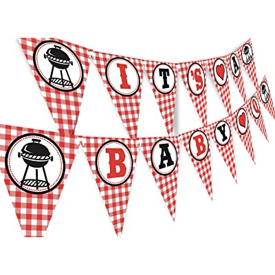 POP parties Baby Q Banner - BBQ Baby Shower Banner - Red Gingham Shower Banner: Toys & Games