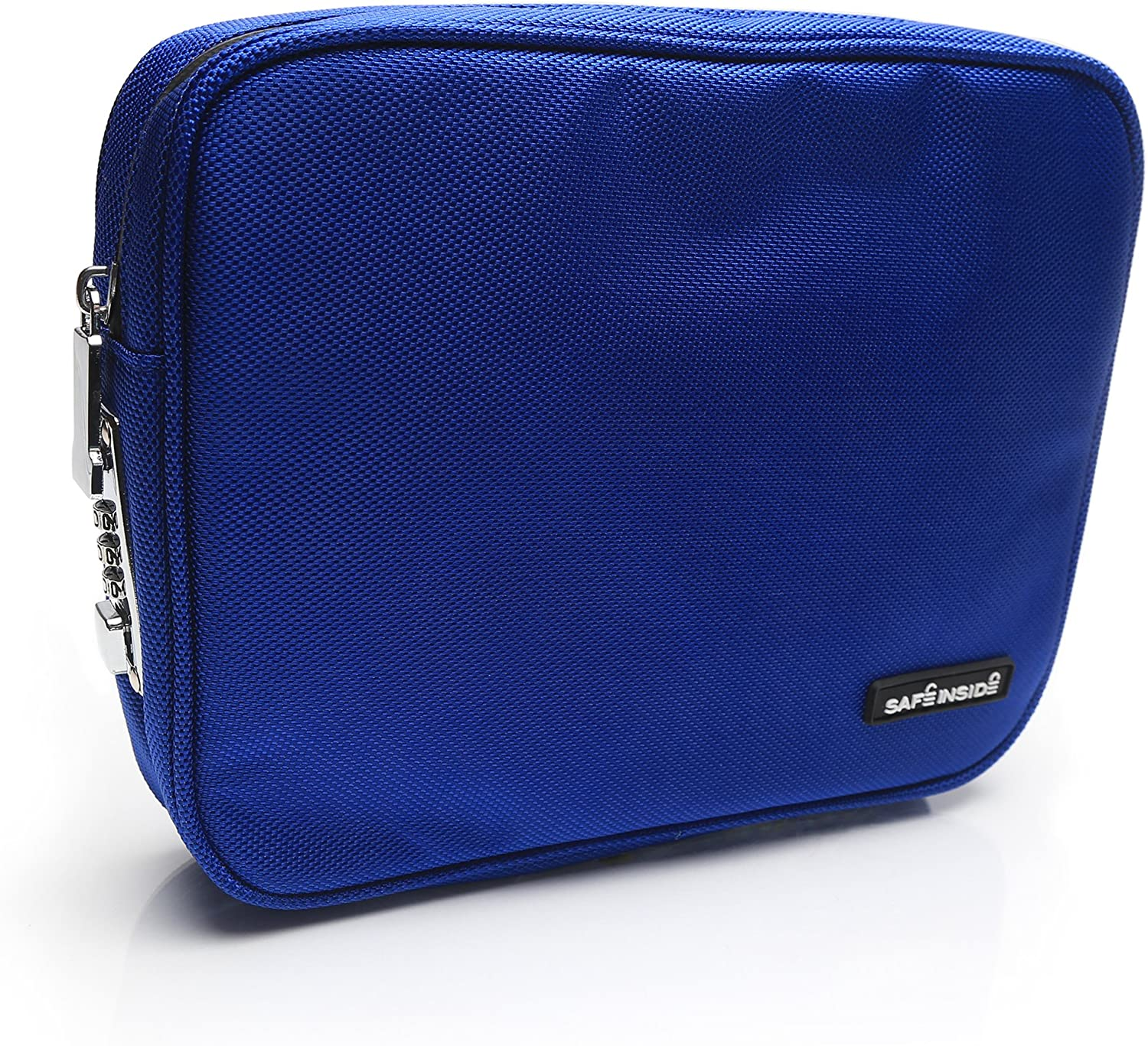 Safe Inside Large Locking Privacy Pouch with Steel Tether Cable, 7.5 Inches by 10.5 Inches, Blue