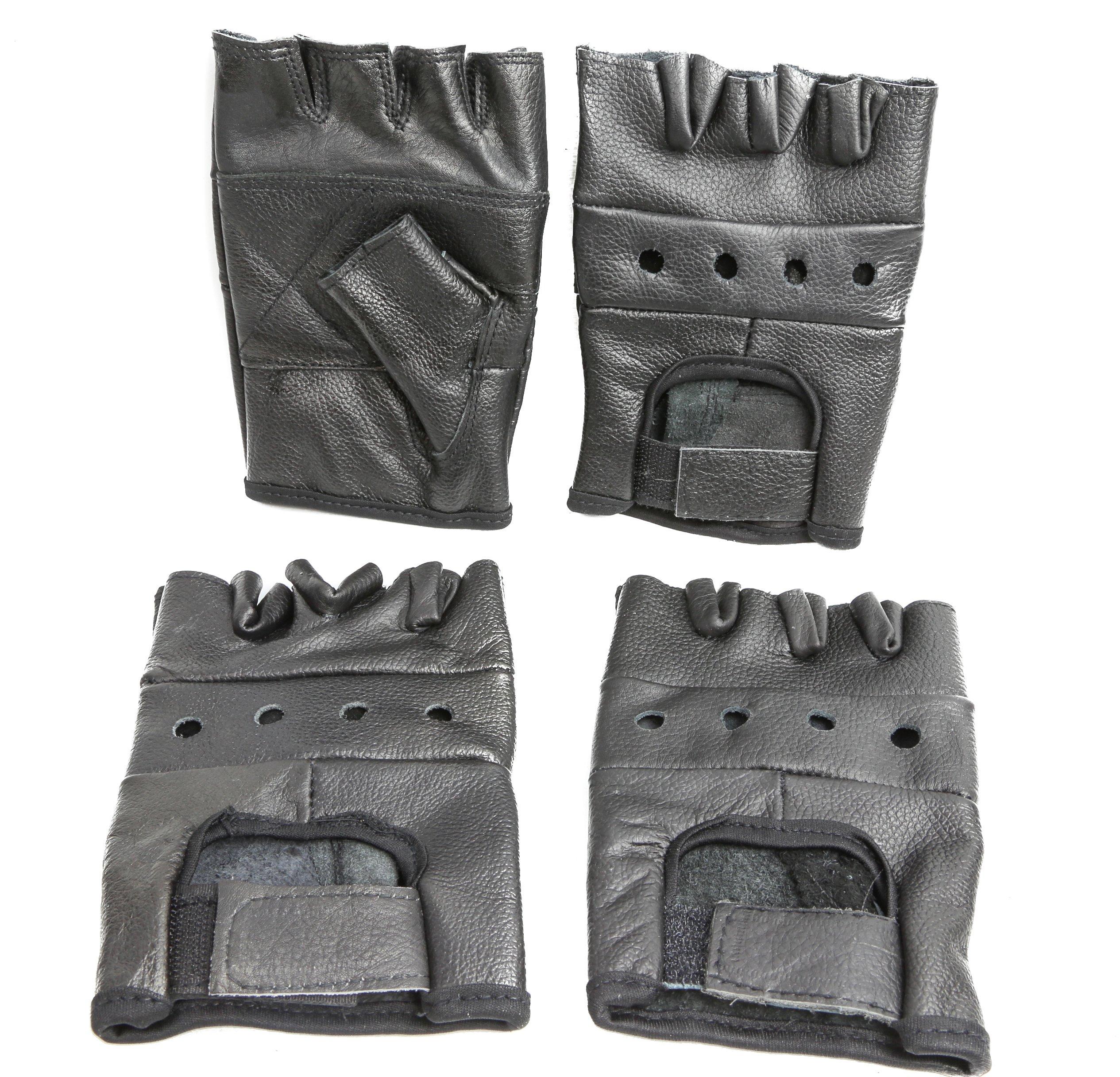 Black Leather Heavy Duty Lightweight Fingerless Gloves Pack of 2 (L)
