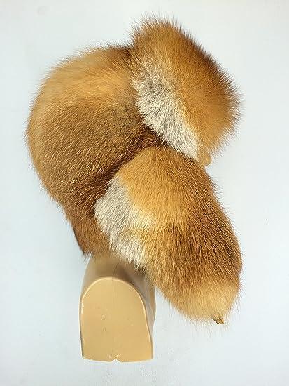 30ec6223 Amazon.com: Natural Red Fox Fur Full Ushanka Hat For Men's 22.5' - 24' -  Adjustable: Everything Else