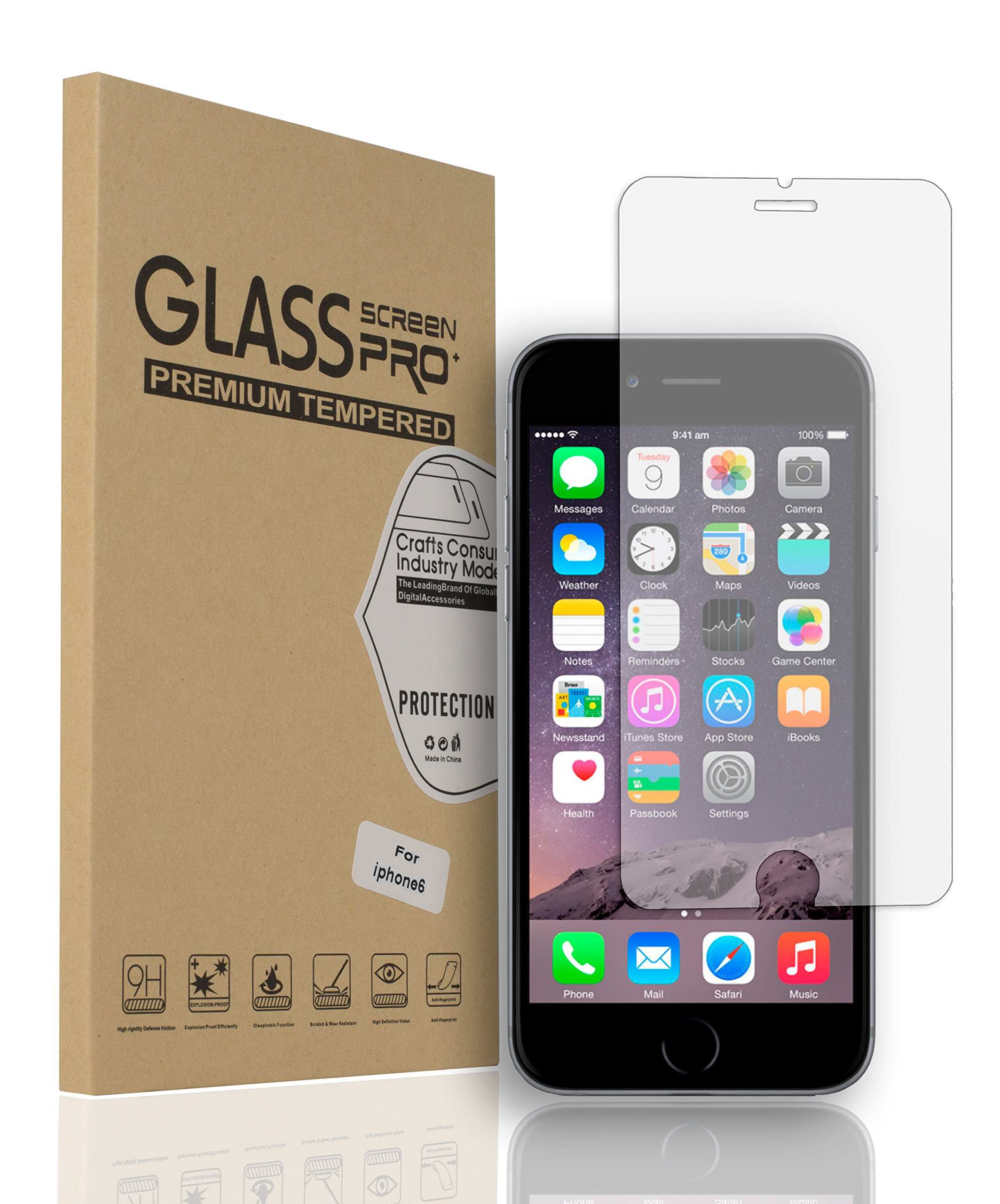 Habrok Tempered Glass for iPhone 6 and 6S, Gorilla Guard Armor Ultra-Thin Clear Screen Protector Tool, Apple Drop Proof, Cheap HD Anti-Scratch, Durable Life Defender for Phone Display