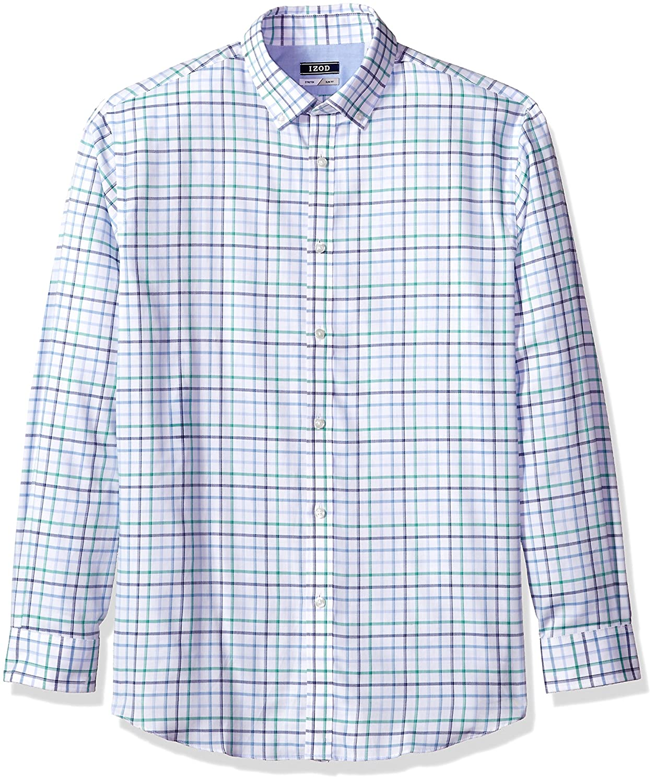 Izod Mens Slim Fit Windowpane Check Buttondown Collar Dress Shirt