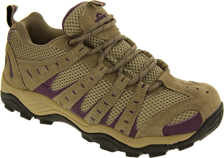 Northwest Territory Womens Leather Rugged Non Slip Walking and Hiking Shoe Beige and Purple