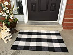 """Most Beautiful Polyester Cotton Buffalo Plaid Rug Outdoor - Black and White Porch Rugs, Size: 23.6""""x35.4"""" - Welcome Door Mat, Outdoor Plaid Doormat for Kitchen/Laundry Room - Black and White Doormat"""