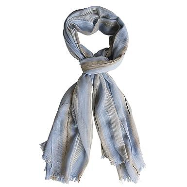 FERETI Echarpe Homme Bleu Clair Denim Rayures Léger Fine Avec Lignes Zebre  Foulard Stripes Chale Mode ffefb0229fc