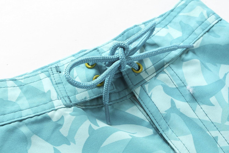 Boy Hawaiian Swimwear Board Shorts with Tie in Blue White with Dolphin Print