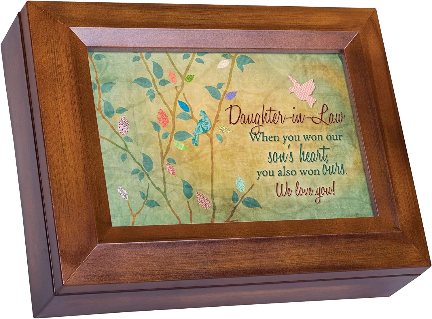 Cottage Garden Daughter-in-Law Won Heart We Love You Woodgrain Digital Keepsake Music Box Plays I Can Only Imagine