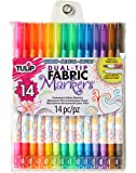 Tulip Permanent Nontoxic Fabric Markers 14 Pack - Dual Tip with Fine Tip & Brush Tip, Child Safe, Minimal Bleed & Fast Drying - Premium Quality for T-shirts, Clothes, Shoes, Bags & Other Fabric Materials