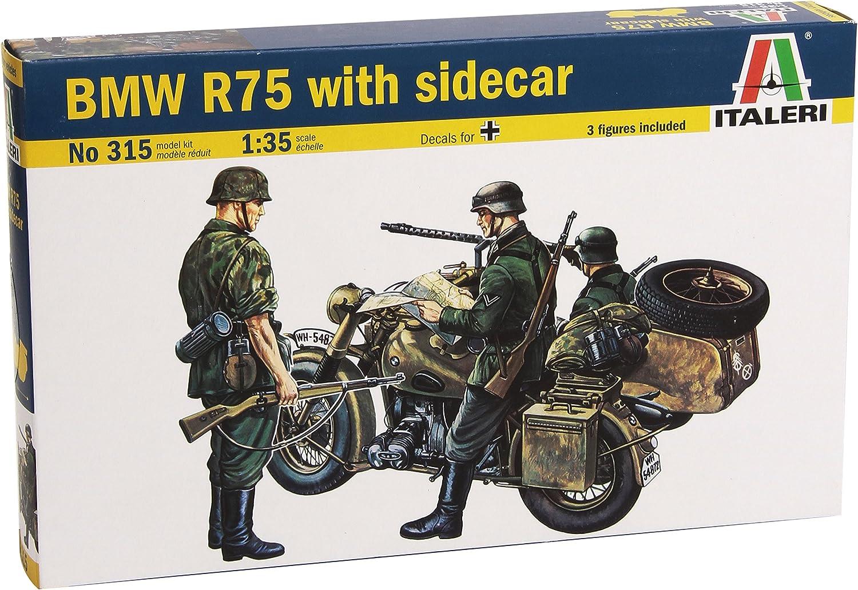 Bmw R75 With Side Car Motorbike Plastic Kit 1:35 Model 0315 ITALERI