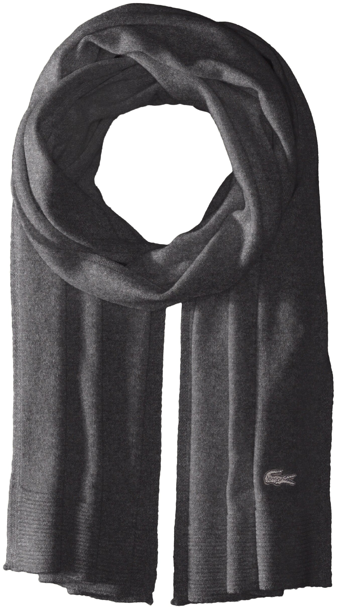 Lacoste Women's solid Fine Jersey Cashmere Scarf, Scarab black Chine, One Size