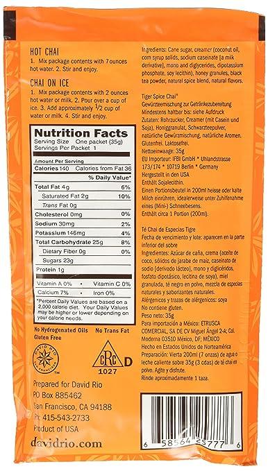 Amazon.com : David Rio Chai Tea Single Serve Packets, Tiger Spice, 48 Count : Green Teas : Grocery & Gourmet Food
