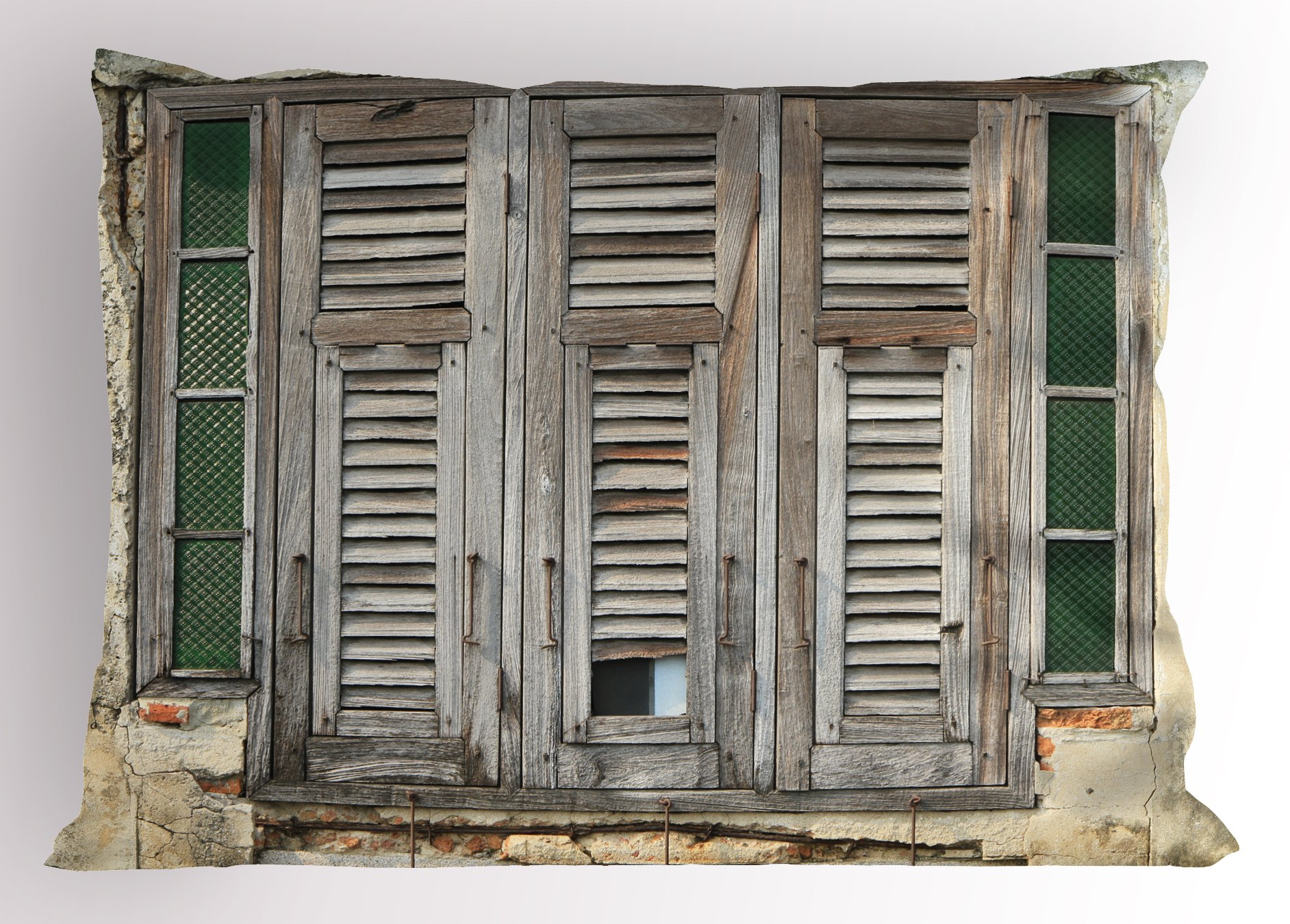 Lunarable Shutters Pillow Sham, Aged Weathered Wooden Window Blinds Rough Cracked Wall Vintage Home Decoration, Decorative Standard King Size Printed Pillowcase, 36 X 20 inches, Beige Green