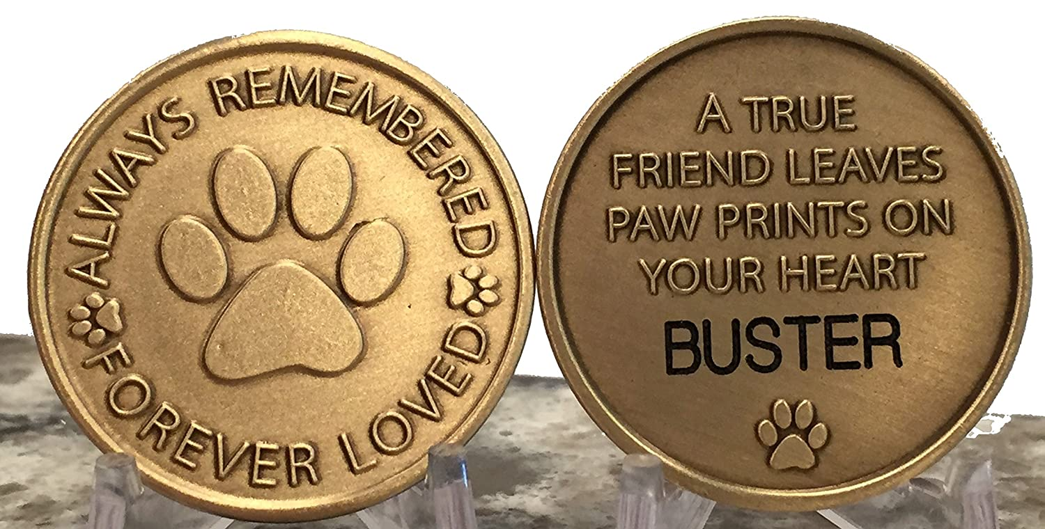 Engraved Pet Name Always Remembered Forever Loved Memorial Paw Prints On Your Heart Medallion RecoveryChip