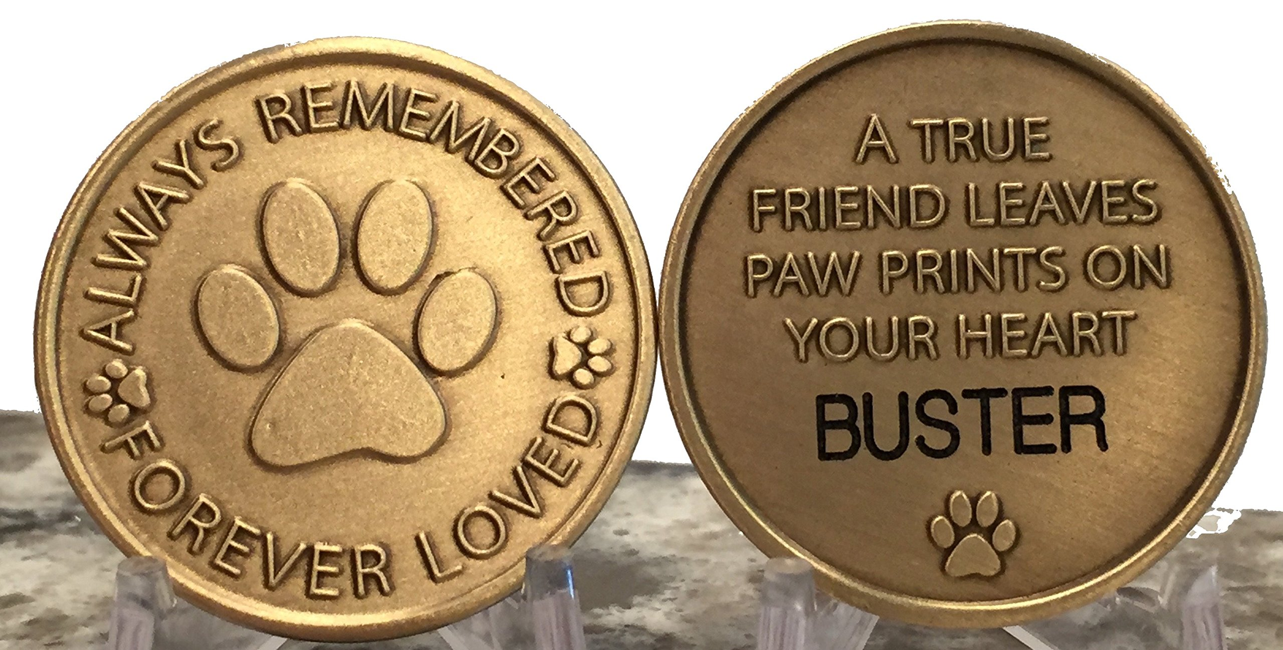 Personalized Pet Name Memorial Medallion Engraved Always Remembered Forever Loved Token