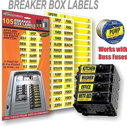 circuit breaker decals 105 tough vinyl labels for breaker panel rh amazon com Main Breaker Fuse Box Fuses vs Circuit Breakers