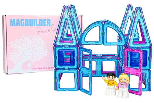 Magnetic Tile Princess Castle Set - 62 Piece Palace Kit with Prince and Princess Toys, Great Toy for Girls, Teach Creativity Building Castles and Ice Palaces, More Fun than Blocks, Pink and Blue Tiles