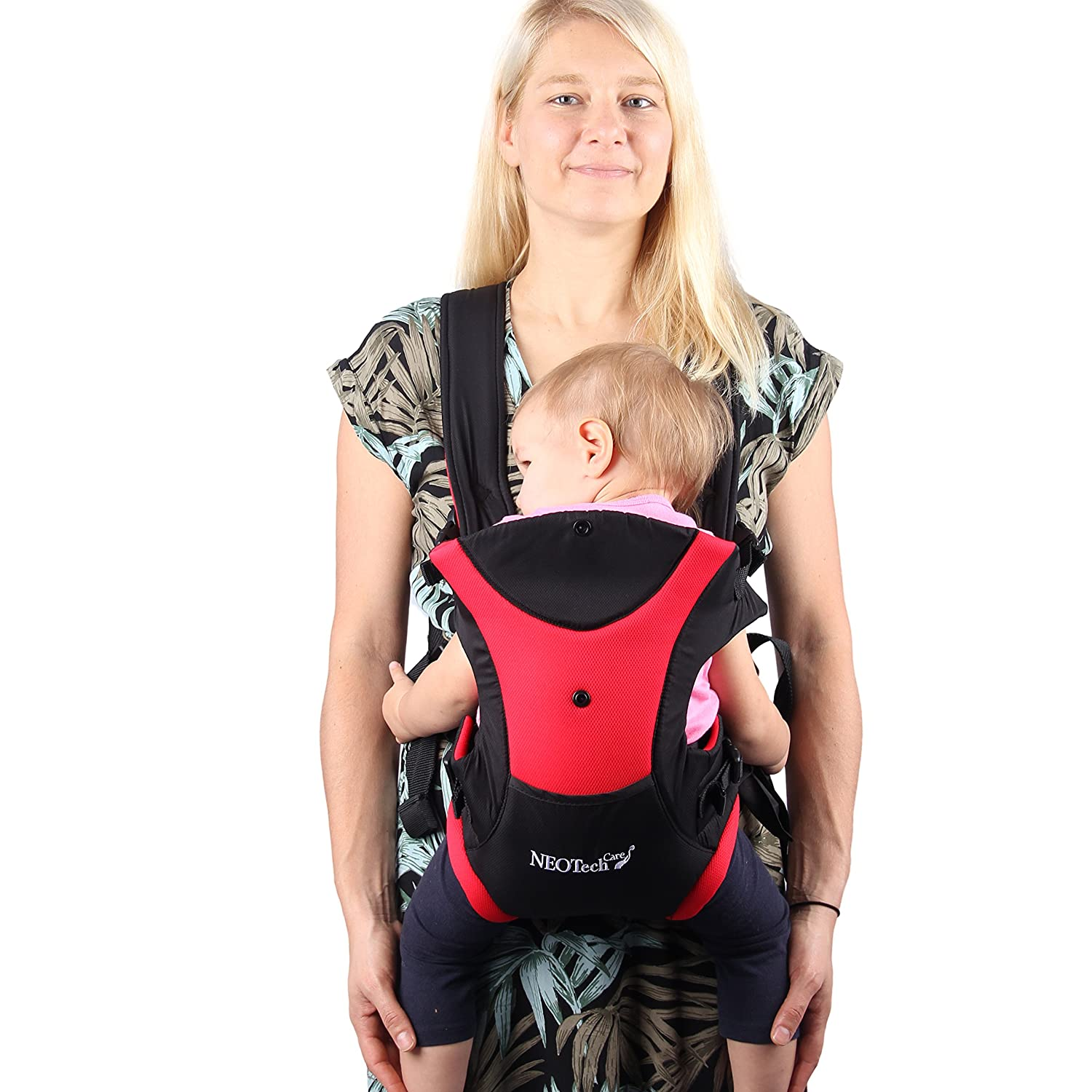 Neotech Care Hip Seat Baby Carrier - Front and Back - Adjustable & Breathable - Black and Red NTC-BC015 Red