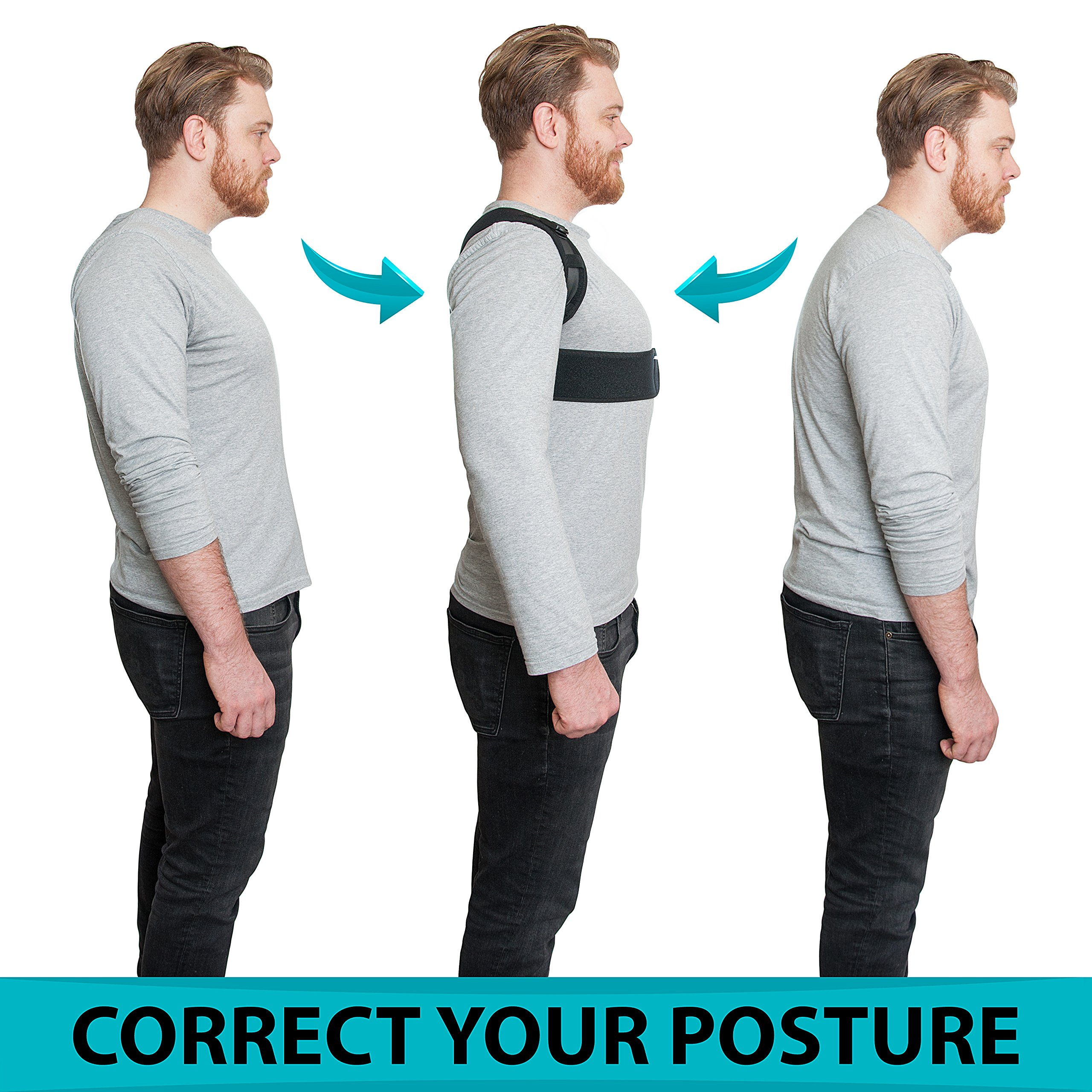 PREMIUM Back Brace Support Corrector by ABBINY Health, Shoulder Support for Men and Women Providing Relief Neck and Back pain, Improves the Posture 100% Comfortable and Breathable. Kyphosis Corrector