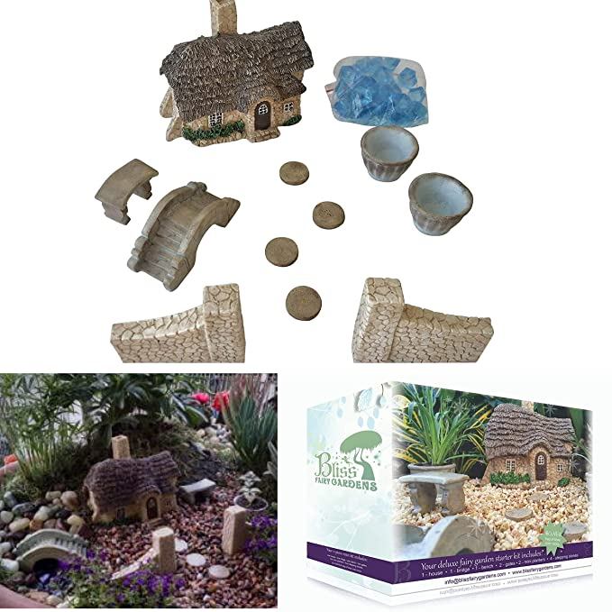 Mother Daughter Fairy Garden Deluxe Starter Kit | Durable Weather-Resistant | Hand-Crafted English Cottage & Accessories Collection