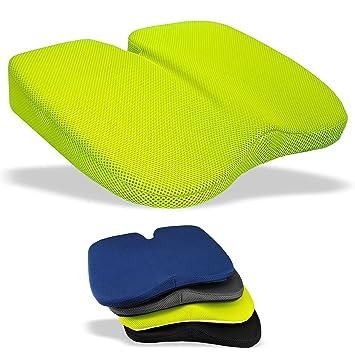 Medipaq - Cojín de Cuña Freedom– Grandioso para Alivio de Coxis, Soporte Lumbar y Dolor de Espalda para el auto y el hogar - Tela 3-D verde