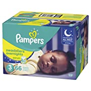 Pampers Swaddlers Overnights Disposable Diapers Size 3, 66 Count, SUPER