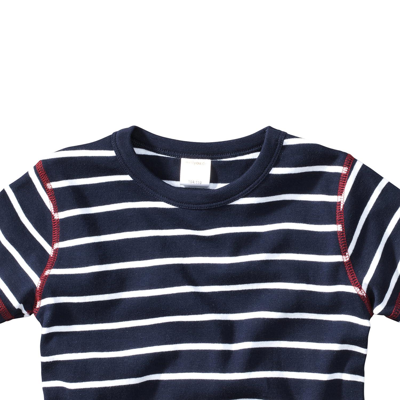 wellyou Kinder Kurzarm T-Shirt f/ür Jungen dunkel-blau Weiss Geringelt 100/% Baumwolle