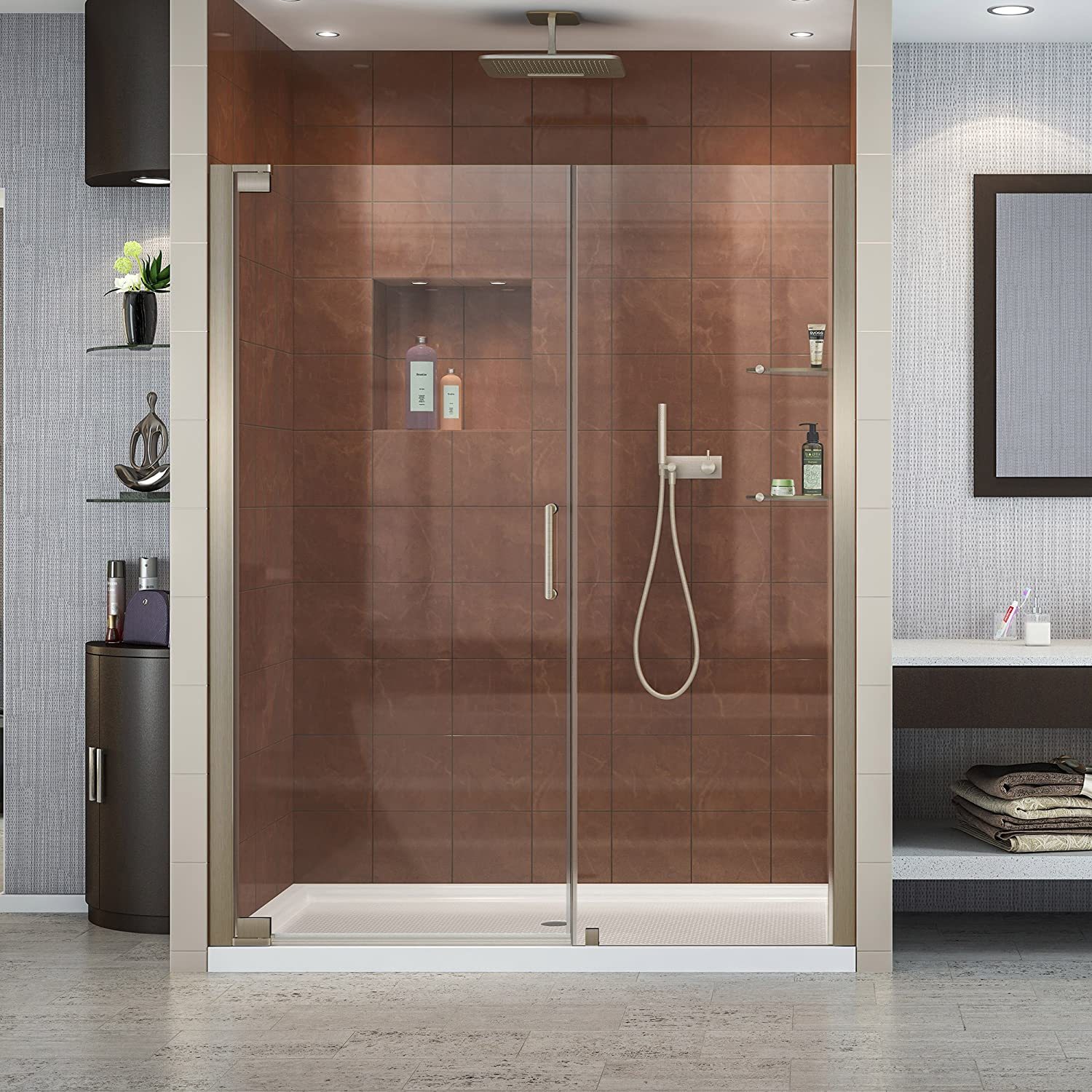 DreamLine Elegance 56 1 4 – 58 1 4 in. W x 72 in. H Frameless Pivot Shower Door in Brushed Nickel, SHDR-4156720-04