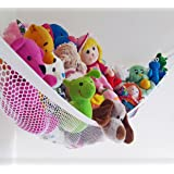 Stuffed Animal Hammock - QUICKLY Tidies Toys - DELUXE White 72 X 48 X 48 inch. LARGE Hanging Pet Net, Toy Hammock Organizer For Kids & Teens Bedroom Decor, Or Adults Gear - Jumbo - By Viva Toy Hammock