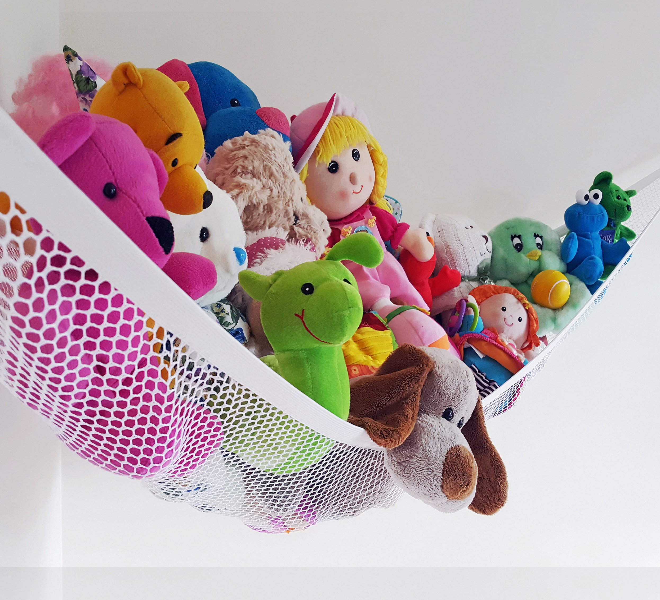 Stuffed Animal Hammock – TIDY TOYS EASILY – DELUXE Toy Hammock - LARGE White Pet Net 72 X 48 X 48 inch Hanging Nursery Toy Organizer, Kids Room Storage, Teens Or Adults Gear. By Viva Jumbo Toy Hammock