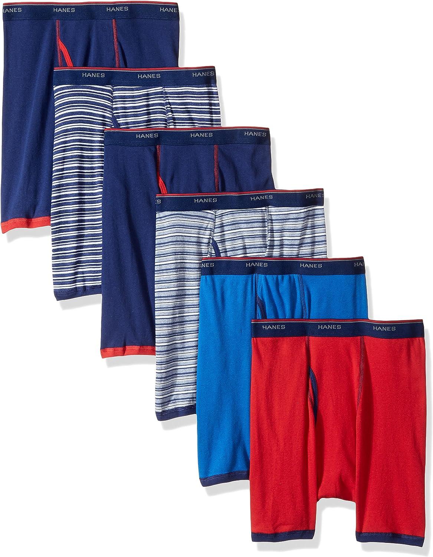 Hanes Men's 6-Pack Striped Sport Boxer Briefs (5 + 1 Free Bonus Pack)