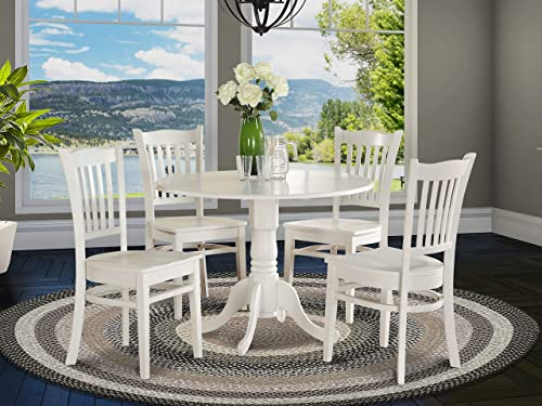 DLGR5-WHI-W 5 PC Kitchen nook Dining set-Table and 4 Kitchen Chairs