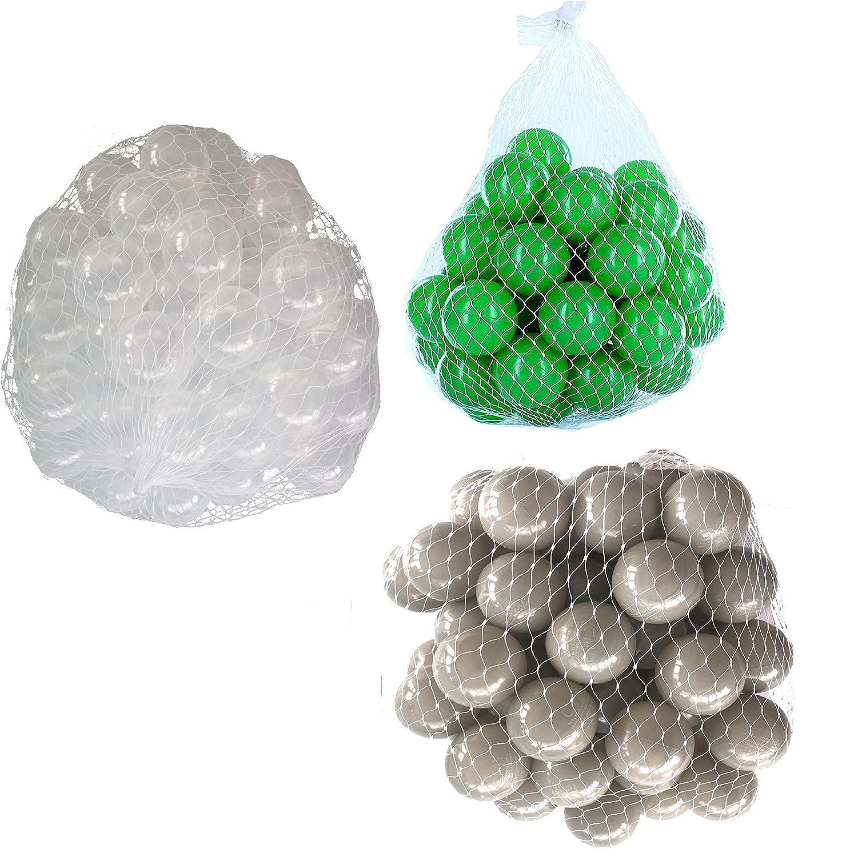 900 Bälle für Bällebad gemischt mix mit transparent, grau und grün