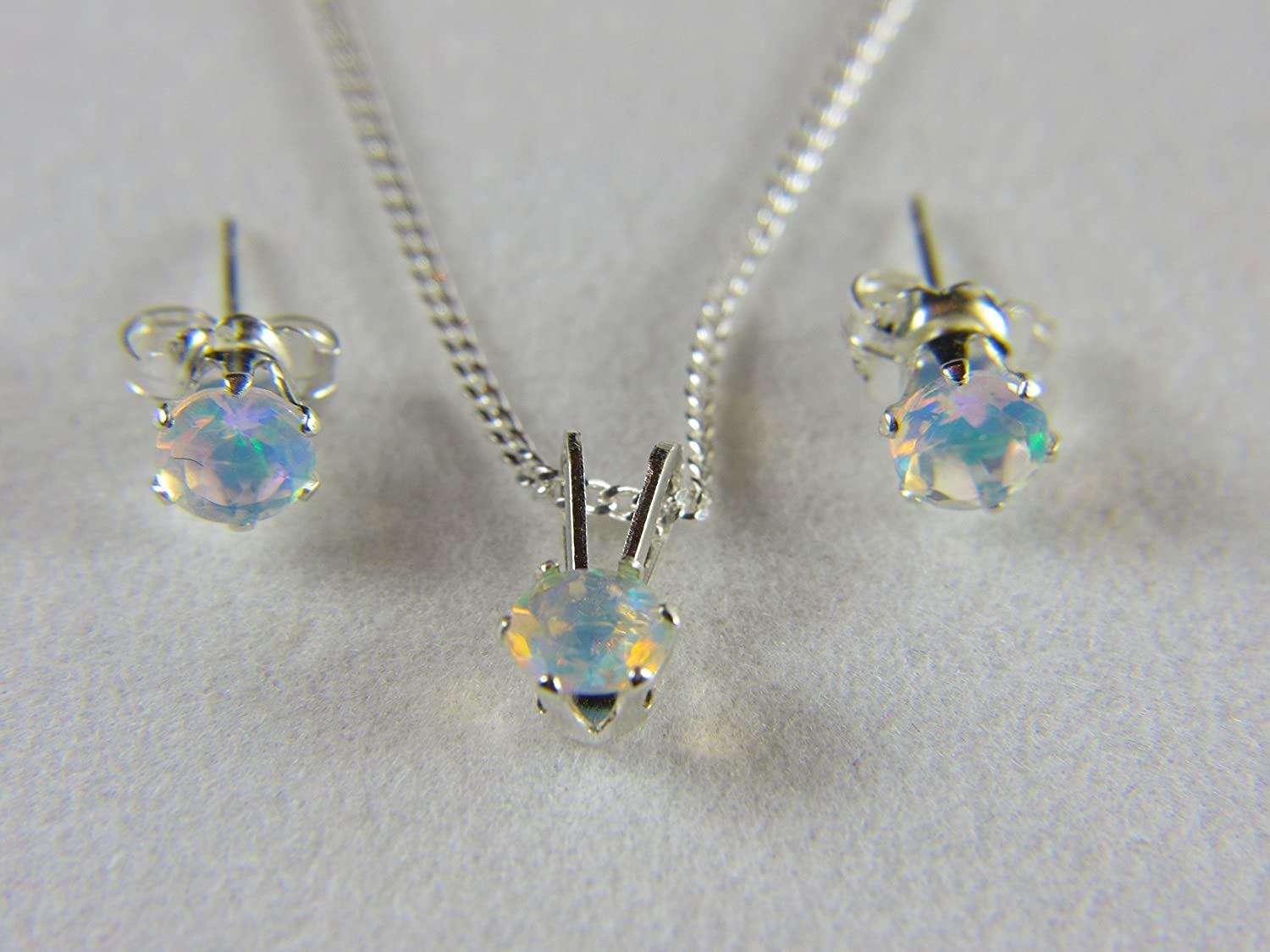 4mm Round Opal October birthstone. Natural Ethiopian Welo Fiery Opals in Sterling Silver SET of Necklace /& Earrings AAA+ grade