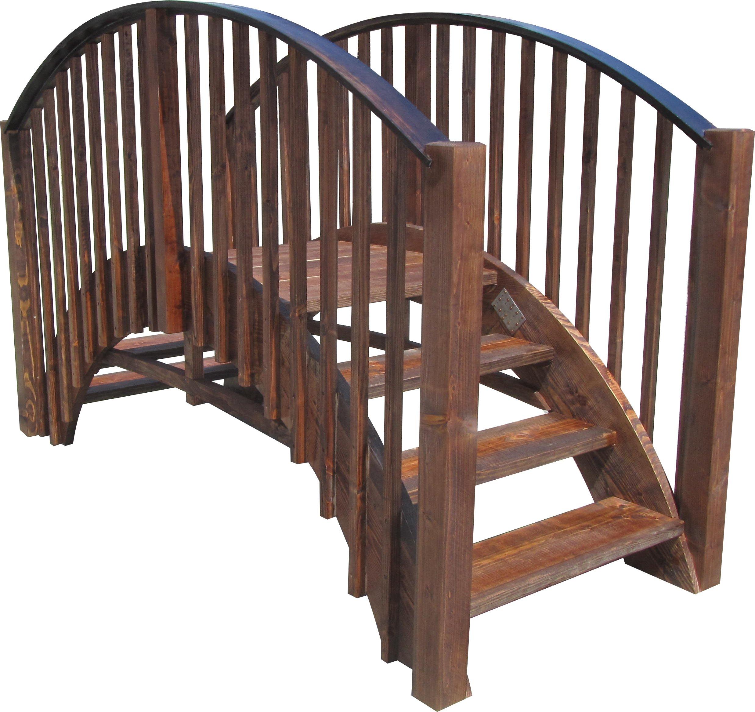 SamsGazebos 8' Japanese Wood Garden Bridge, Treated