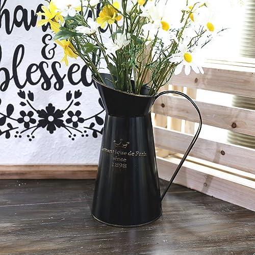 APSOONSELL Black Metal Flower Vase Tall Galvanized Vase Flower Pitcher Primitive Jug Vintage Rustic Container Home Decor Farmhouse Kitchen Decor