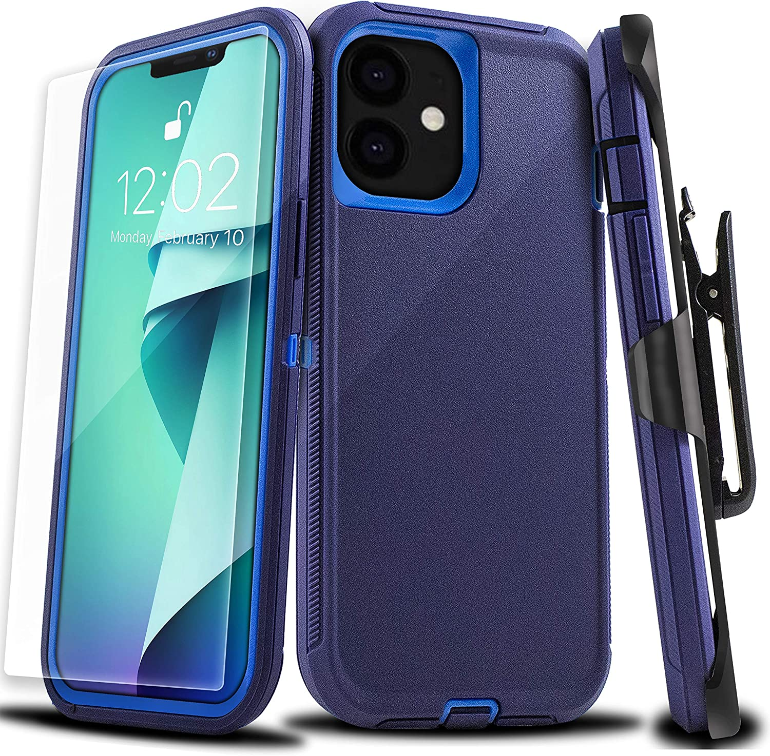 XG-Tech Case for iPhone 12 Pro & iPhone 12 [6.1''] Protective Shockproof [Military Grade] 3 in 1 Rugged Armor Full Body Heavy Duty Case Cover with Belt Clip [Free Tempered Glasses] Navy/Blue