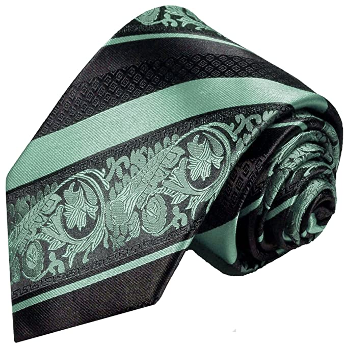 Paul Malone corbata de seda verde menta negro barroco a rayas ...