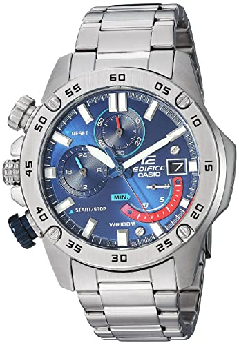 Casio Mens Edifice Quartz Stainless Steel Watch, Color:Silver-Toned (
