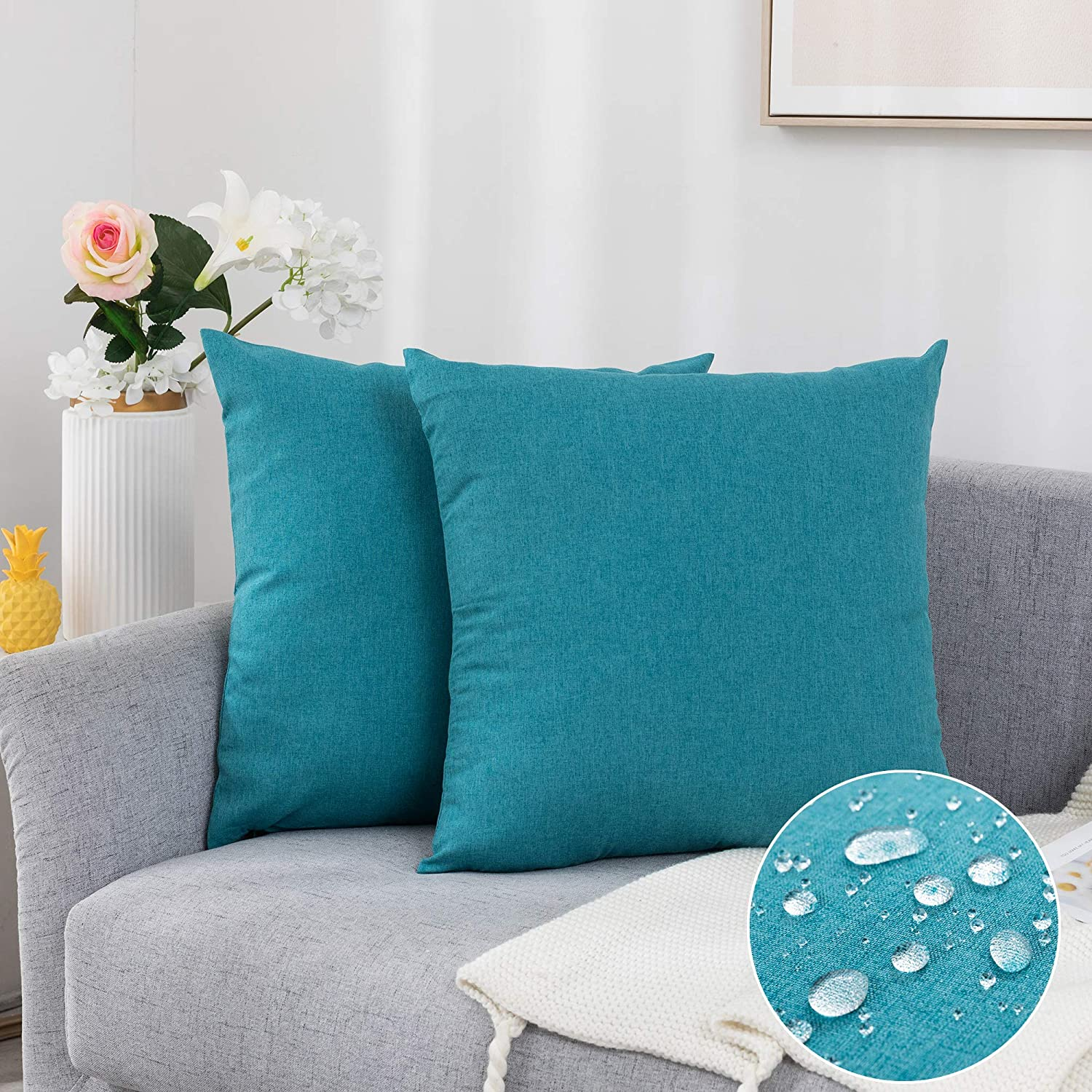 """Pack of 2 Decorative Outdoor Waterproof Pillow Covers Soft Cotton Linen Garden Cushion Case for Patio Couch Sofa Home Decoration (Turquoise, 2020"""")"""