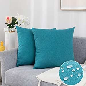 "Pack of 2 Decorative Outdoor Waterproof Pillow Covers Soft Cotton Linen Garden Cushion Case for Patio Couch Sofa Home Decoration (Turquoise, 2020"")"