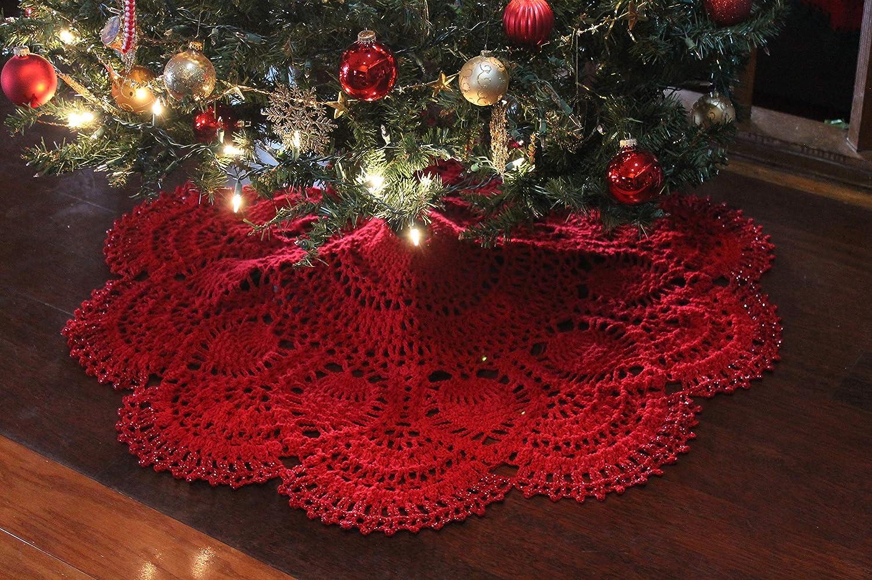 Crochet Christmas Tree.Amazon Com Crochet Pineapple Christmas Tree Skirt Handmade