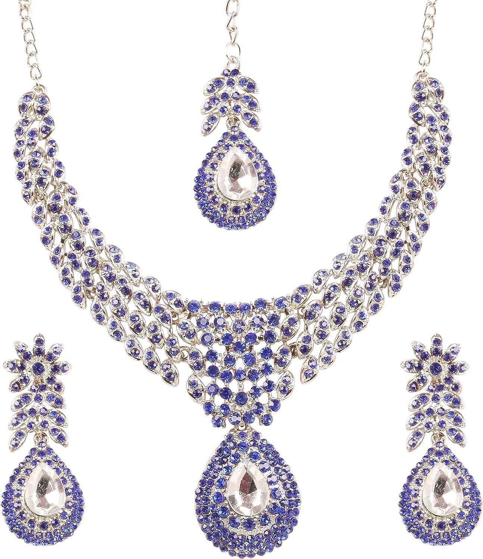 Rhinestone Diamante Crystal Silver Tone Necklace Earrings Jewellery Set Gift Box