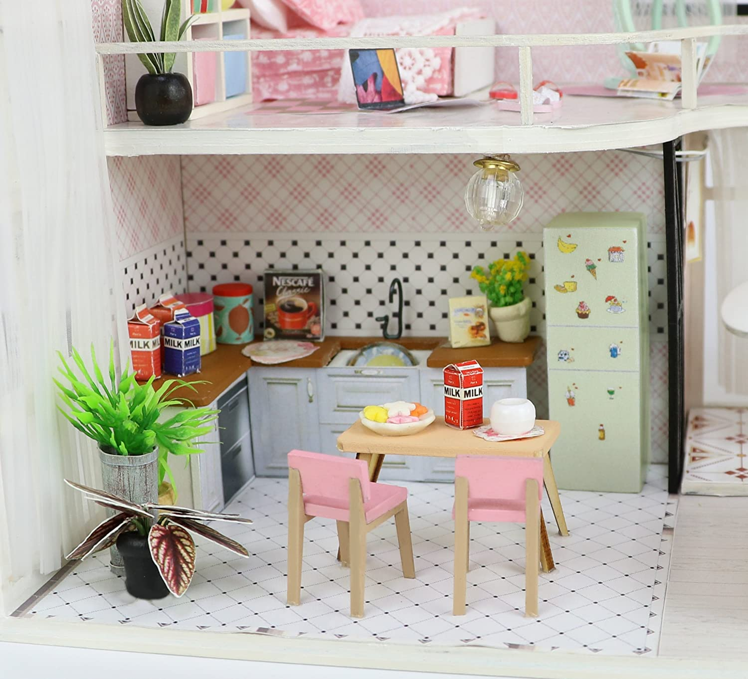 Includes Lights and Furniture Unassembled by Teddy Annas Pink Melody Miniature Two-Floor Dollhouse Model DIY Dollhouse Project Kit