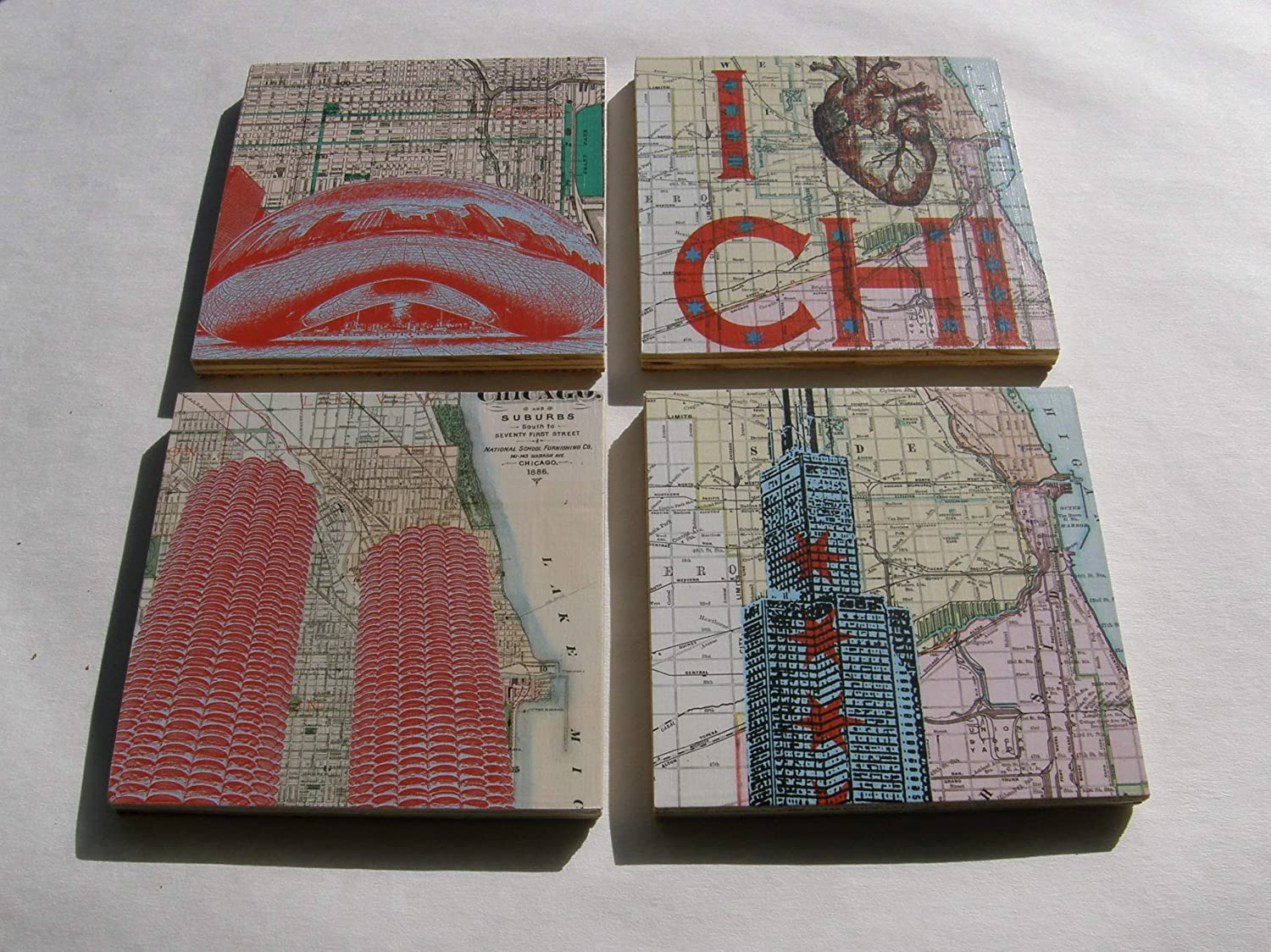 Chicago Themed Wood Coasters Set of 4 Sears//Willis Tower Marina City Bean
