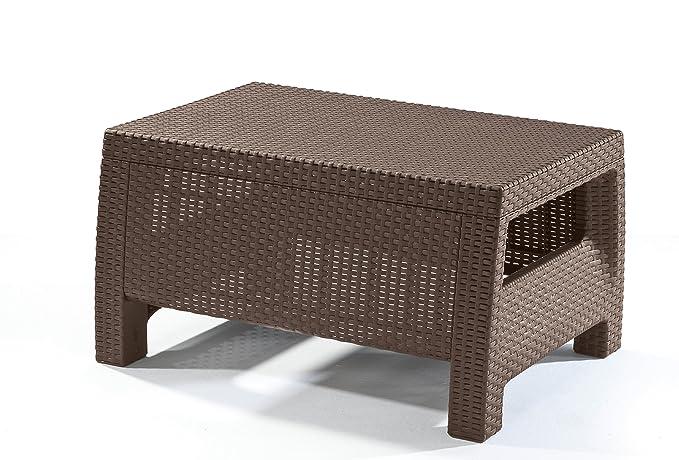 Keter Corfu Coffee Table Modern All Weather Outdoor Patio Garden Backyard Furniture, Brown